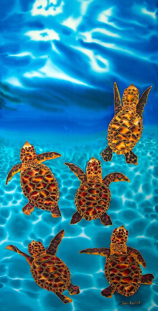 Jean-Baptiste.com Silk Painting baby sea turtles