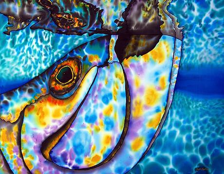 Jean-Baptiste Silk Painting of a tarpon fish.