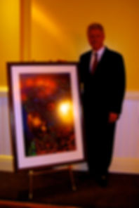 Bill Clinton  with an original Jean-Baptiste painting