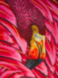 Jean-Baptiste Silk Painting of a flamingo.