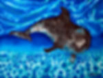 Jean-Baptiste silk painting of a dolphin