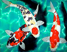 Jean-Baptiste silk painting of koi fish