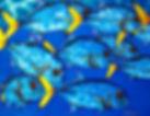 Jean-Baptiste silk painting of schooling fish