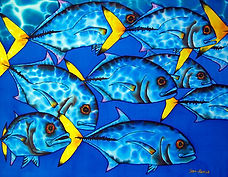 Jean-Baptiste silk painting of schooling fish