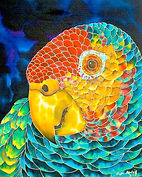 Jean-Baptiste Hand Painted silk of an amazon parrot