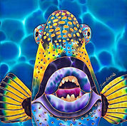 Jean-Baptiste Hand Painted silk of a triggerfish