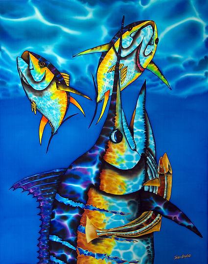 Jean-Baptiste Silk Painting of a blue marlin & tuna