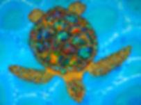 Jean-Baptiste.com Silk Painting of an opal sea turtle.
