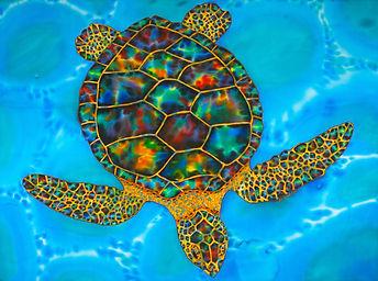 Jean-Baptiste Silk Painting of an opal sea turtle
