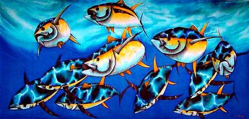 Jean-Baptiste Silk Painting of tuna