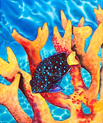 jean-baptiste  Hand Painted silk art, damsel fish