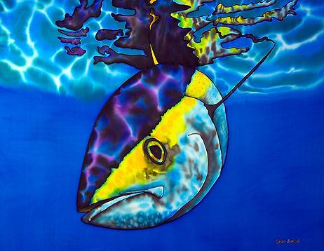 Jean-Baptiste Silk Painting of a yellowfin tuna.