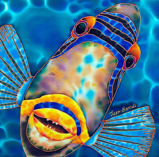 Jean-Baptiste Silk Painting of a triggerfish