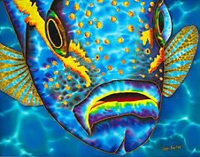 Jean-Baptiste silk painting of a yellowtail snapper