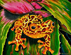 Jean-Baptiste silk painting of a tree frog