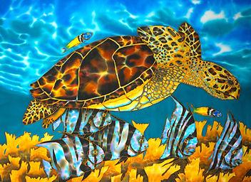 Jean-Baptiste Hand Painted silk of a sea turtle