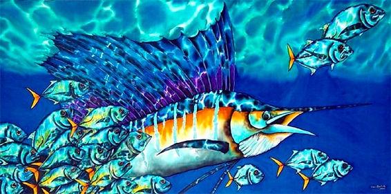 Jean-Baptiste Silk Painting of a sailfish