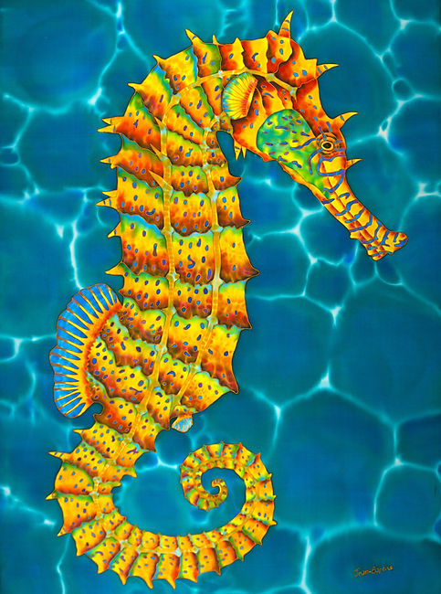 Jean-Baptiste.com Silk Painting of a seahorse