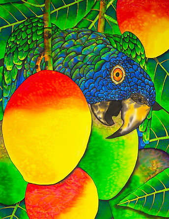 Jean-Baptiste Silk Painting of a ST. LUCIA PARROT