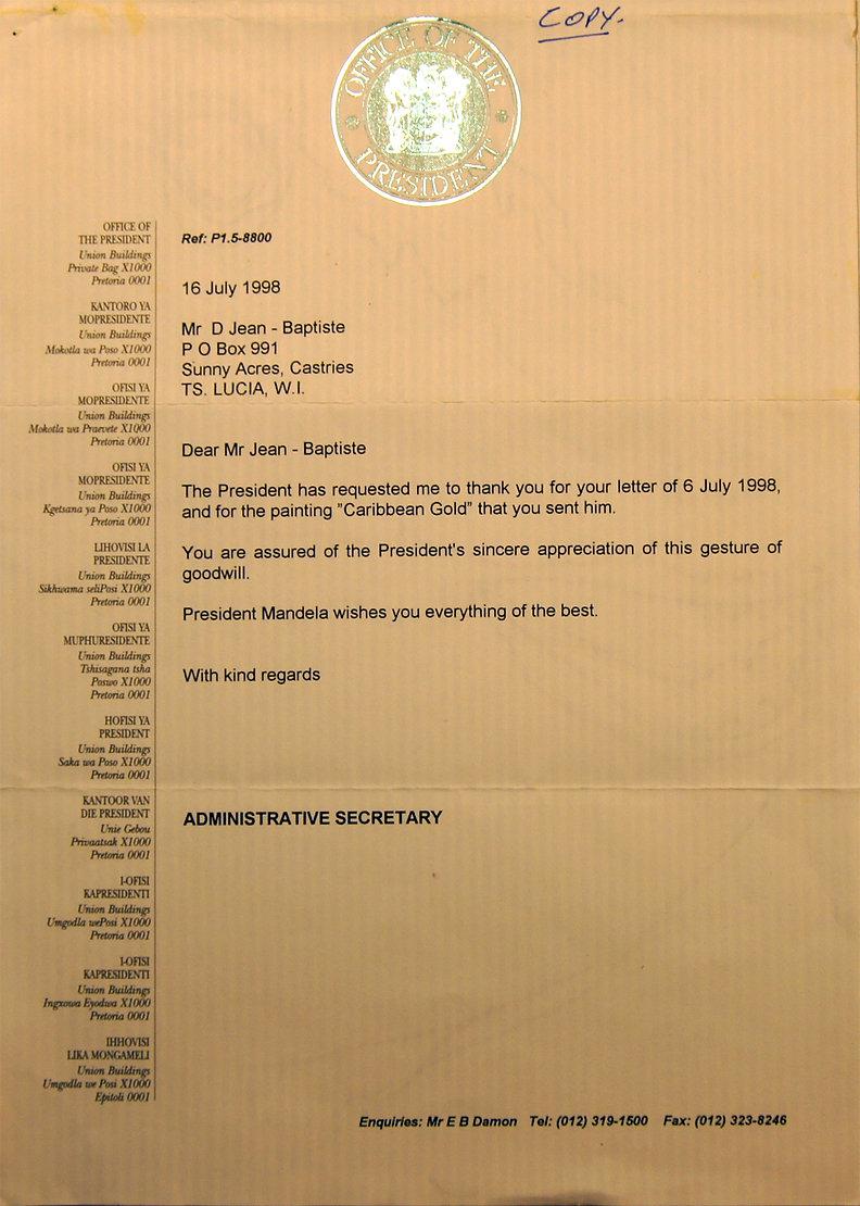 Letter from Nelson Mandela