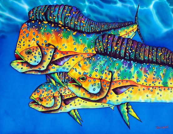 Jean-Baptiste  silk painting of  mahi mahi fish