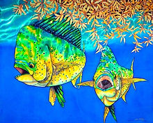 Jean-Baptiste silk painting of mahi mahi fish