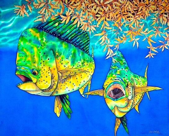 Jean-Baptiste Silk Painting of dorado fish