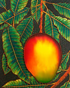Jean-Baptiste silk painting of  a mango
