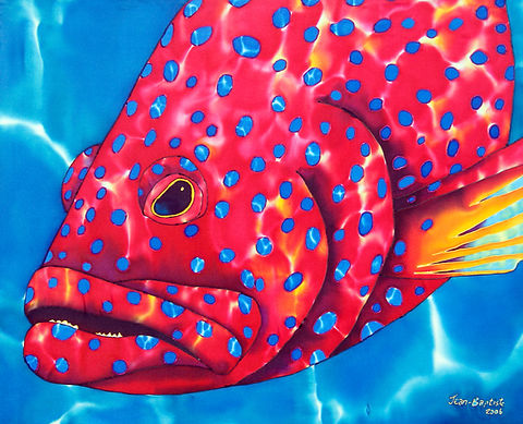 Jean-Baptiste Silk Painting of a grouper