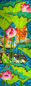 Jean-Baptiste silk painting of lotus flowers & koi
