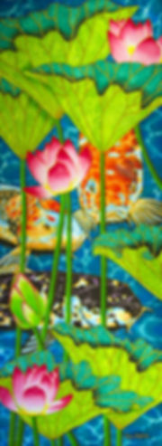 Jean-Baptiste silk painting of lotus flowers & koi