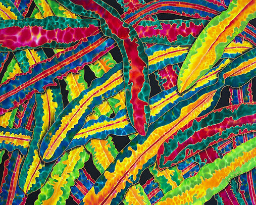 Jean-Baptiste.com Silk Painting of croton leaves