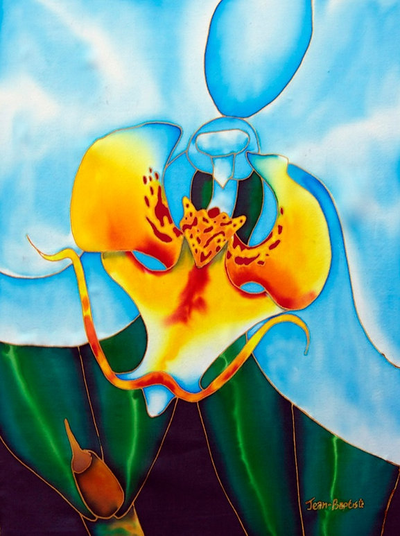 Jean-Baptiste Silk Painting of an orchid