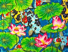 Jean-Baptiste silk painting of koi & lotus flowers