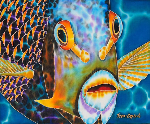 Jean-Baptiste silk painting of a french angelfish