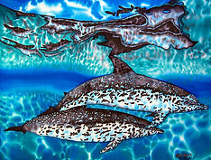 Jean-Baptiste silk painting of dolphins