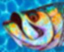 Jean-Baptiste Hand Painted silk art of a tarpon fish