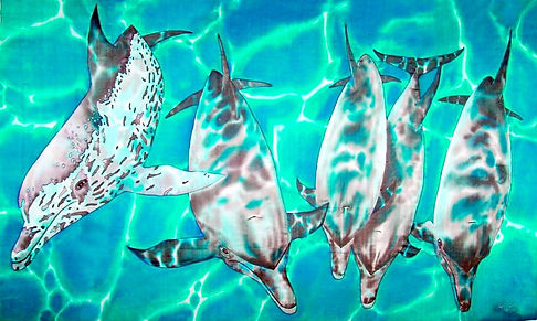 Jean-Baptiste Silk Painting of wild dolphins