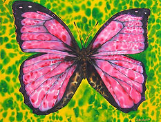 Jean-Baptiste silk painting of a pink morpho butterfly