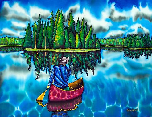 Jean-Baptiste Silk Painting of a Canadian landscape