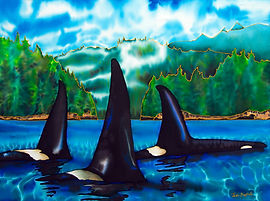 Jean-Baptiste silk painting of Canadian orca pod