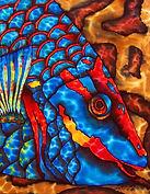 Jean-Baptiste silk painting of a parrotfish