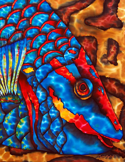 Jean-Baptiste Silk Painting of a parrotfish