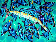 Jean-Baptiste silk painting of  blue marlin & tuna