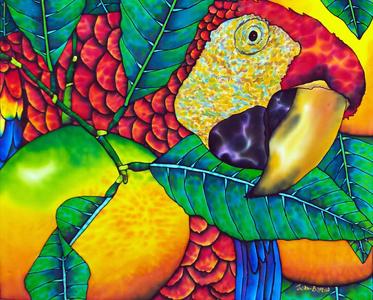 Jean-Baptiste silk painting of macaw parrot