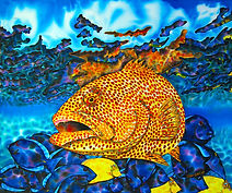 Jean-Baptiste silk painting of  tiger grouper