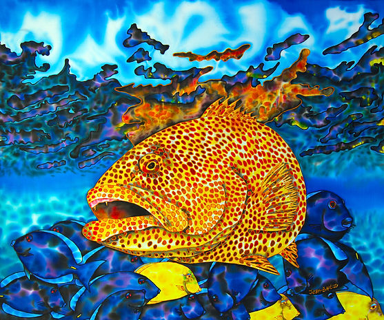 Jean-Baptiste  silk painting of a TIGER GROUPER