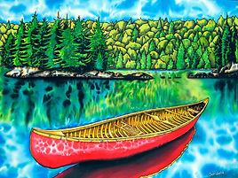 Jean-Baptiste silk painting of Algonquin park & a red canoe