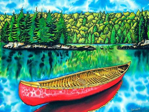 Jean-Baptiste Silk Painting of Algonquin Park, Ontario