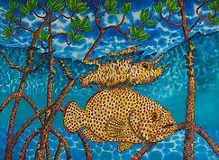 Jean-Baptiste silk painting of mangrove fish.
